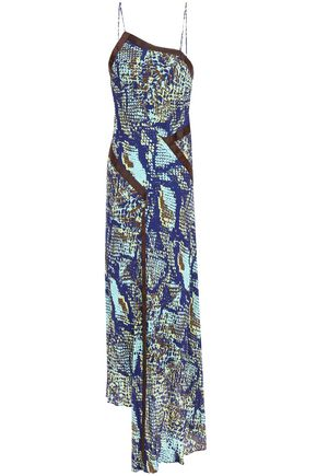HOUSE OF HOLLAND Asymmetric grosgrain-trimmed snake-print gauze midi slip dress
