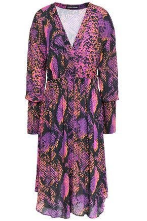 HOUSE OF HOLLAND Gathered snake-print gauze dress