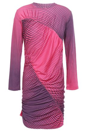 HOUSE OF HOLLAND Gathered dégradé striped stretch-jersey mini dress