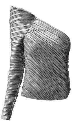 MUGLER Metallic plissé jersey bodysuit