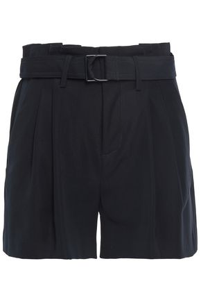VINCE. Belted pleated crepe-twill shorts