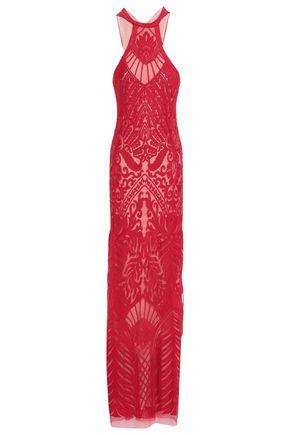 GALVAN  London 刺繍入り メッシュ ホルターネックロングドレス