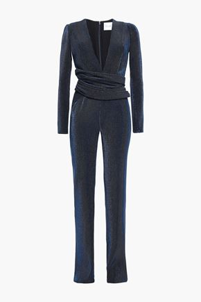 GALVAN  London Origami tie-back gathered ribbed satin jumpsuit