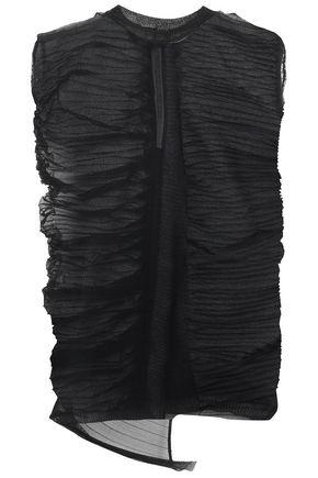 RICK OWENS Asymmetric pleated open-knit top