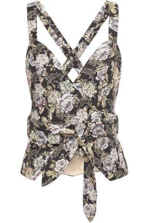NANUSHKA Levi floral-jacquard wrap top