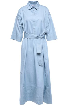 CO Belted cotton-poplin midi shirt dress