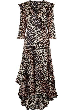 GANNI Leopard-print silk-blend satin wrap dress