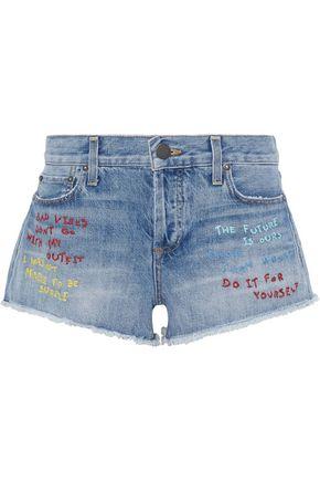 ALICE + OLIVIA Amazing embroidered distressed denim shorts