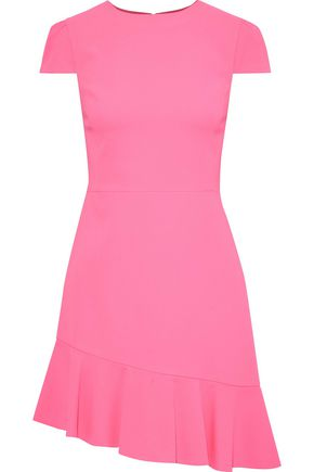 """ALICE + OLIVIA فستان قصير """"فايبل"""" غير متماثل من الكريب مع كشكش"""