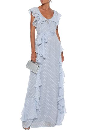 Alice Mccall Tops ALICE MCCALL WOMAN MOON TALK RUFFLED FIL COUPÉ GEORGETTE GOWN SKY BLUE