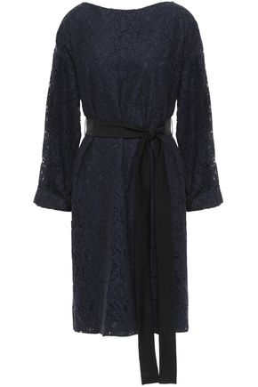 MIKAEL AGHAL Belted corded lace and satin dress