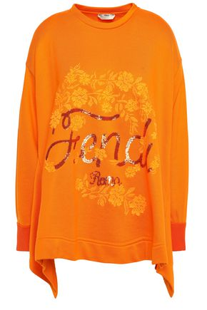 FENDI Asymmetric embellished French cotton-terry sweatshirt