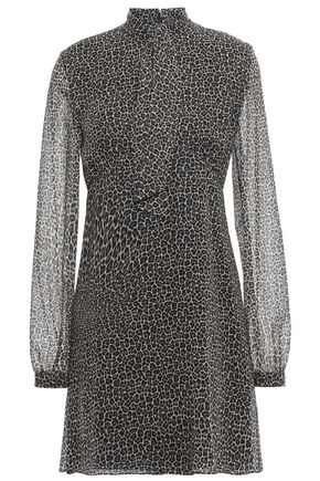 SAINT LAURENT Tie-neck leopard-print wool-gauze mini dress