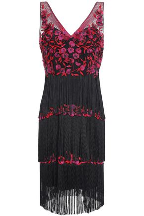 MARCHESA NOTTE Fringed beaded embroidered tulle dress
