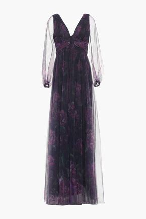MARCHESA NOTTE Cutout pleated floral-print tulle gown