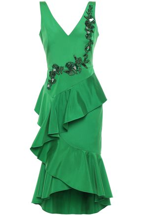 MARCHESA NOTTE Ruffled embellished crepe dress