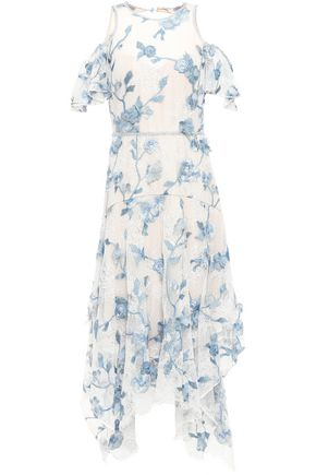 MARCHESA NOTTE Cutout floral-appliquéd embroidered lace dress
