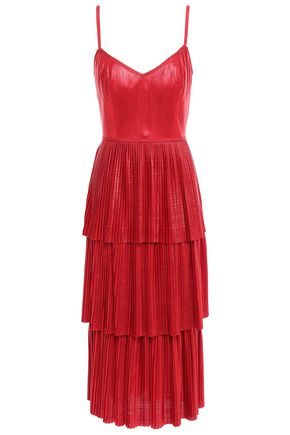MARCHESA NOTTE Tiered metallic plissé-jersey midi dress