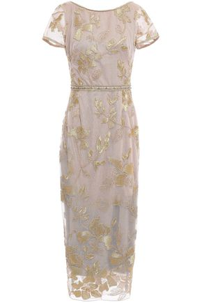 MARCHESA NOTTE Embellished embroidered tulle midi dress