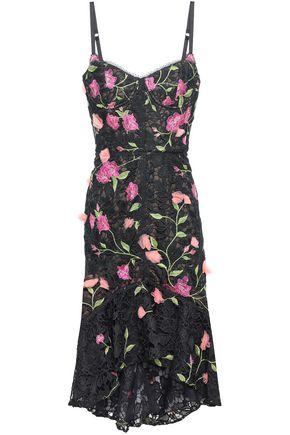 MARCHESA NOTTE Floral-appliquéd grosgrain-trimmed guipure lace dress