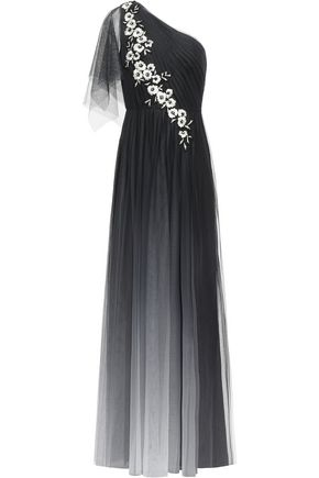 MARCHESA NOTTE One-shoulder embellished embroidered tulle gown