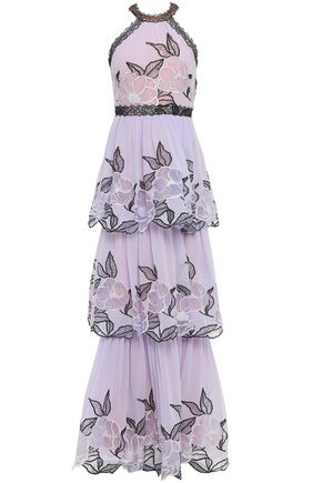 MARCHESA NOTTE Tiered embroidered chiffon gown