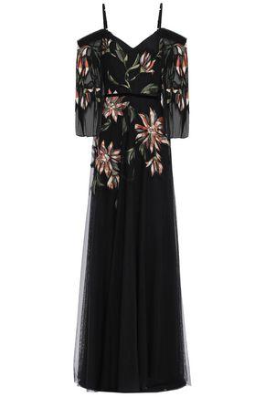 MARCHESA NOTTE Cold-shoulder velvet-trimmed embroidered tulle gown