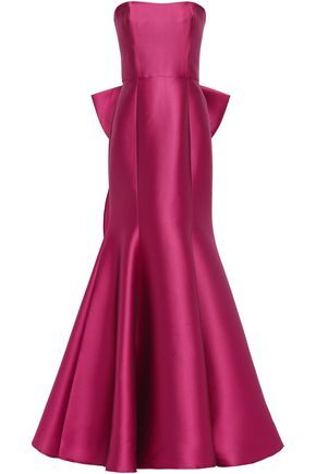 MARCHESA NOTTE Strapless bow-embellished satin-piqué gown