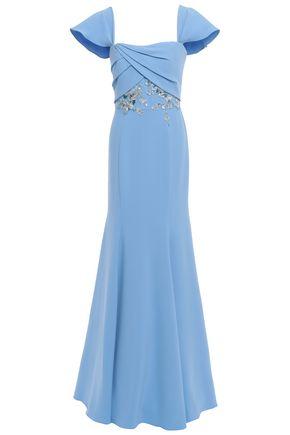 MARCHESA NOTTE Off-the-shoulder embellished crepe gown