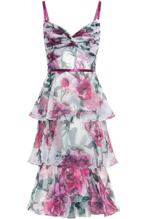 MARCHESA NOTTE Tiered twist-front floral-print organza dress