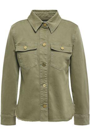 FRAME Frayed brushed denim shirt