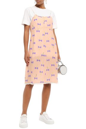Miu Miu Dresses MIU MIU WOMAN LACE-TRIMMED PRINTED SILK CREPE DE CHINE SLIP DRESS PEACH