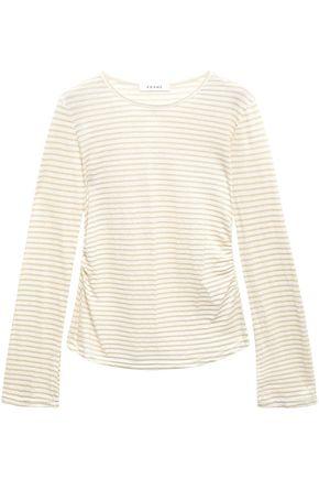 FRAME Glitter-embellished striped linen and cotton-blend top