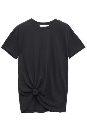 FRAME Knotted cotton-jersey T-shirt