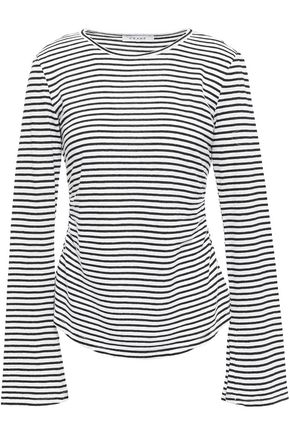 FRAME Glitter-embellished striped linen and cotton-blend top