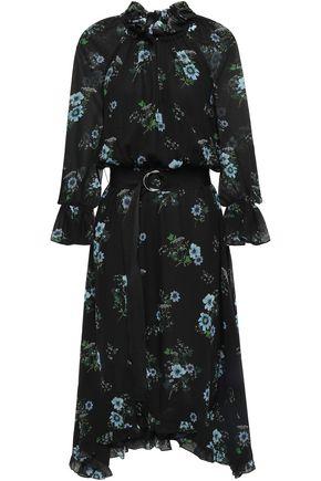 CLAUDIE PIERLOT Romili asymmetric belted floral-print crepe midi dress