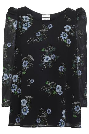 CLAUDIE PIERLOT Banc Ophelia gathered floral-print georgette top