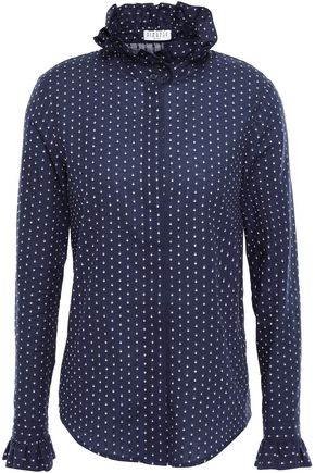 CLAUDIE PIERLOT Ruffle-trimmed cotton-jacquard shirt