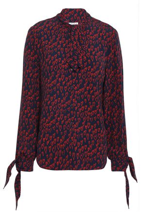 CLAUDIE PIERLOT Chocolate pussy-bow printed crepe blouse