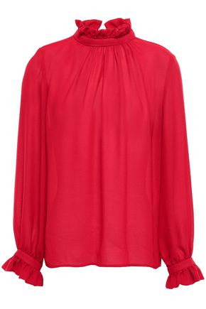 CLAUDIE PIERLOT Gathered ruffle-trimmed crepe blouse