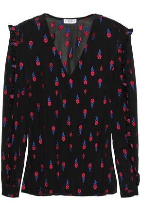 CLAUDIE PIERLOT Ballou ruffle-trimmed floral-jacquard blouse