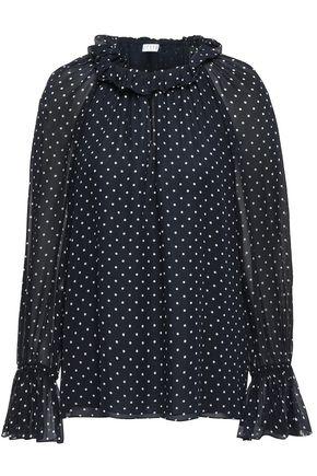 CLAUDIE PIERLOT Ruffle-trimmed polka-dot crepe blouse