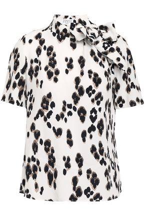 CLAUDIE PIERLOT Benji pussy-bow leopard-print crepe blouse