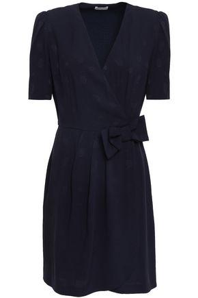 CLAUDIE PIERLOT Rina wrap-effect bow-embellished printed satin-crepe mini dress