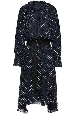 CLAUDIE PIERLOT Romili asymmetric belted polka-dot crepe midi dress