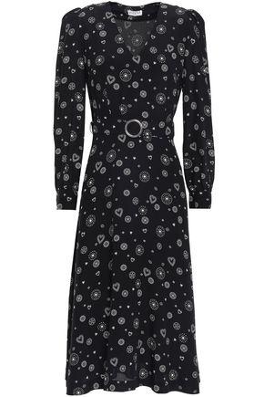 CLAUDIE PIERLOT Romani belted printed silk crepe de chine midi dress