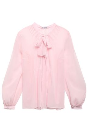 CLAUDIE PIERLOT Bouquette pussy-bow pintucked chiffon blouse
