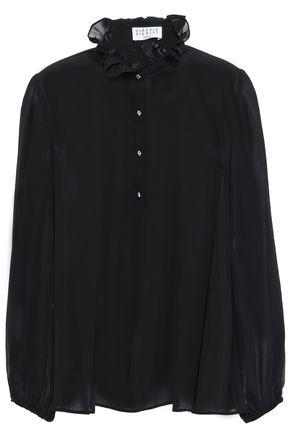CLAUDIE PIERLOT Ruffle-trimmed georgette blouse