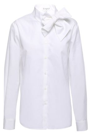CLAUDIE PIERLOT Cheryl bow-detailed cotton-poplin shirt