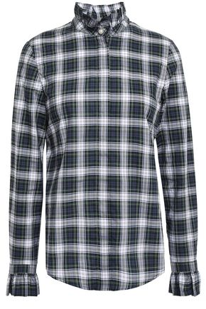 CLAUDIE PIERLOT Colombe ruffle-trimmed checked cotton-poplin blouse